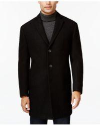 Calvin Klein | X-fit Black Melange Extra Slim-fit Overcoat | Lyst