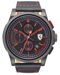 Scuderia Ferrari - 'formula Italia' Chronograph Leather Strap Watch - Lyst