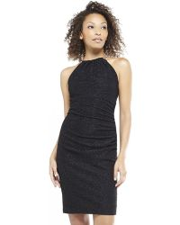Eliza J Black Shirred Halter Necklace Dress - Lyst