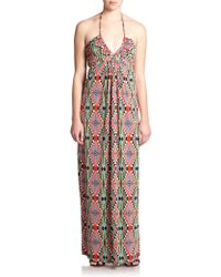 T-bags Printed Stretch Jersey Halter Maxi Dress - Lyst