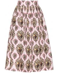 Dolce & Gabbana Printed Cotton Skirt - Lyst