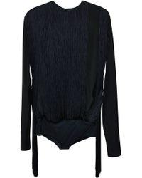 Nina Ricci | Black Satin Bodysuit With Navy Fringes | Lyst