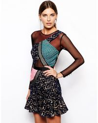 Self-portrait Peplum Dress with Lace Mesh Panels - Lyst