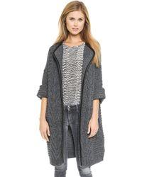 Mason by Michelle Mason Cardigan Coat with Leather Trim  - Lyst