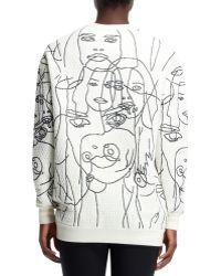 Stella McCartney Quilted Women Scribbled Sweatshirt Chalk - Lyst