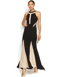 Xscape Illusion Panel Pleated Halter Gown - Lyst