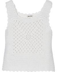 Miu Miu Crochet-knit Cashmere Top - Lyst