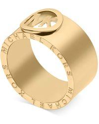 Michael Kors Gold-tone Logo Band Ring - Lyst