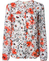 MICHAEL Michael Kors Floral Print Blouse - Lyst