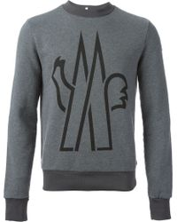 Moncler Grenoble Gray Logo Sweatshirt - Lyst