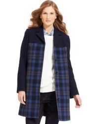 Tommy Hilfiger Plaid Wool-blend Car Coat - Lyst