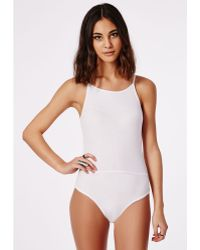 Missguided Racer Neck Ribbed Bodysuit White - Lyst