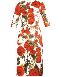 Dolce & Gabbana Rose-Print Brocade Dress - Lyst