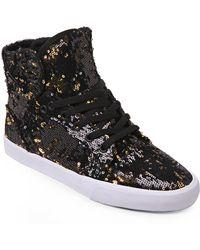 Supra Black & Gold Skytop Sequin Sneakers - Lyst
