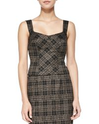 Nanette Lepore Sleuth Stretch Plaid Corset Top - Lyst