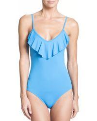 Shoshanna One-Piece Ruffle-Detail Swimsuit blue - Lyst