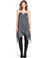 H&M Gray Chiffon Dress - Lyst