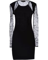 Emilio Pucci Jersey Lace Black Short Dress - Lyst