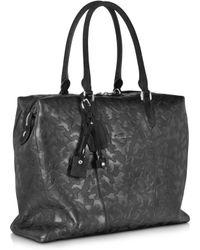 Santoni - Black Camouflage Leather Tote - Lyst