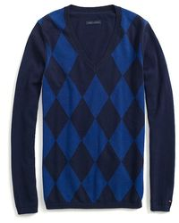 Tommy Hilfiger Tonal Argyle Vneck Sweater - Lyst