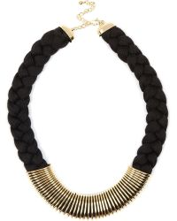 River Island Black Plaited Metal Trim Necklace - Lyst