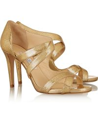 Jimmy Choo Valance Snake-Effect Leather Sandals - Lyst
