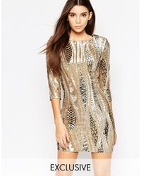 TFNC | All Over Sequin Mini Dress With 3/4 Sleeve | Lyst