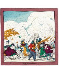 Burberry Prorsum - Weather Scene Printed Silk Scarf - Lyst