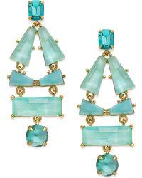 Kate Spade 14K Gold-Plated Aqua Stone Drop Earrings - Lyst