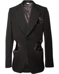 Comme Des Garçons Cut Out Woollen Blazer Black - Lyst