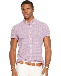 Polo Ralph Lauren Short-Sleeved Checked Poplin Shirt - Lyst