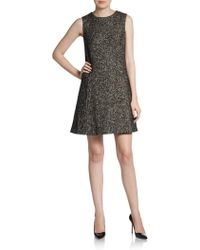 Dolce & Gabbana Sleeveless Tweed Backbutton Dress - Lyst