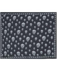 Alexander McQueen Black Classic Skull Print Chiffon Scarf - Lyst