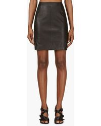 McQ by Alexander McQueen Black Croc_embossed Leather Mini Skirt - Lyst