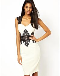 Lipsy Bodycon Dress with Printed Sequin Detail - Lyst