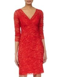 Marina Tiered-Lace 3/4-Sleeve Cocktail Dress - Lyst