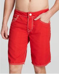 True Religion - Ricky Big T-stitch Swim Trunks - Lyst
