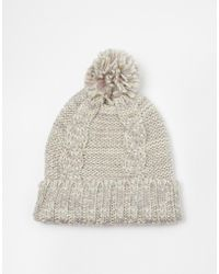Oasis Hot Fix Space Dye Ivory Beanie Hat - Lyst