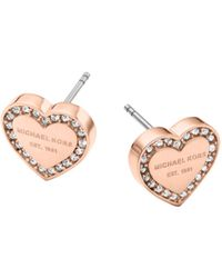 Michael Kors Pavé-embellished Rose Gold-tone Heart Charm Earrings - Lyst