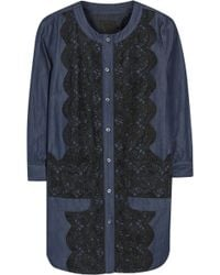 Anna Sui Lace-paneled Cotton-blend Chambray Dress - Lyst