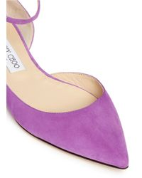 Jimmy Choo | 'lucy' Ankle Strap Suede D'orsay Flats | Lyst