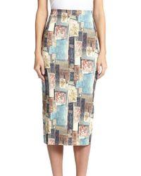 Donna Karan New York Printed Pencil Skirt - Lyst