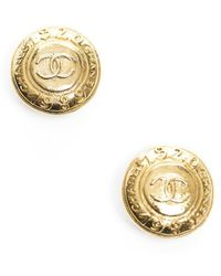 Chanel Preowned Vintage Medallion Clip On Earrings - Lyst