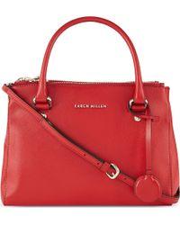 Karen Millen Textured Leather Tote Red - Lyst