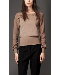 Burberry Pleat Detail Stretch Cotton Sweater - Lyst