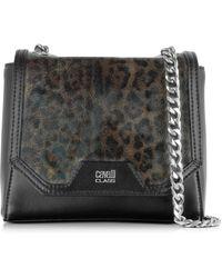 Class Roberto Cavalli - Signature Collection Black & Leopard Print Small Shoulder Bag - Lyst