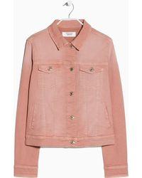 Mango Pink Denim Jacket - Lyst