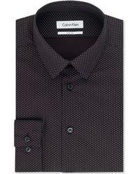 Calvin Klein Steel Non-iron Slim-fit Dusk Polka Dot Performance Dress Shirt - Lyst