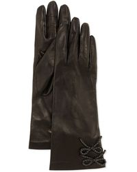 Portolano Double-chain-bow Leather Gloves - Lyst