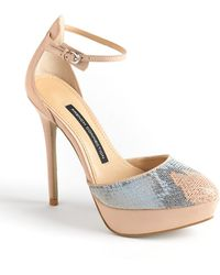 French Connection Remi Snakeskin Dorsay Platform Pumps - Lyst